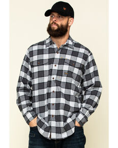 Ariat Men's Grey Heather Rebar Flannel Durastretch Plaid Long Sleeve Work Shirt - Tall , Grey, hi-res