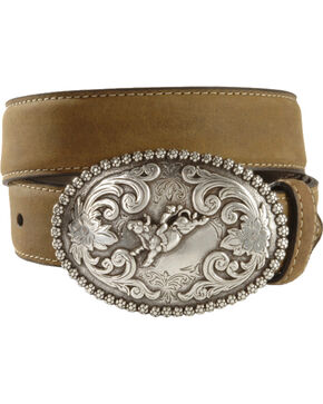 Nocona Children's Bull Rider Buckle Distressed Leather Belt - 18-26, Brown, hi-res