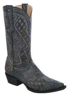 Corral Embroidered Cowboy Boots - Snip Toe, Black, hi-res