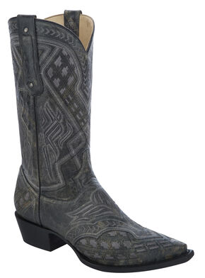 Corral Embroidered Cowboy Boots - Snip Toe, Black, hi-res