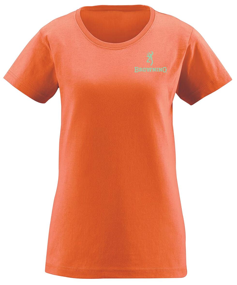 Browning Women's Mossy Oak Country Buckheart Papaya Short Sleeve Tee, Orange, hi-res
