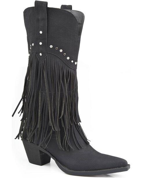 Roper Rhinestone Fringe Cowgirl Boots - Pointed Toe, Black, hi-res