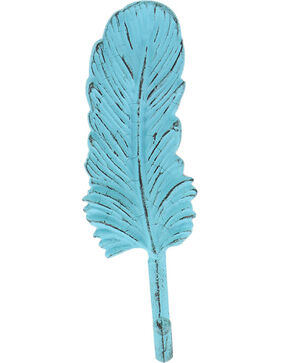 BB Ranch Turquoise Metal Feather Wall Hook, No Color, hi-res