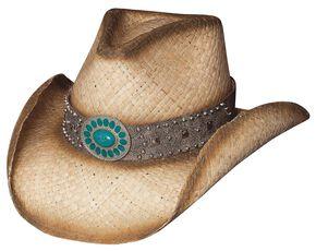Bullhide Western Shadows Bangora Straw Hat, Natural, hi-res