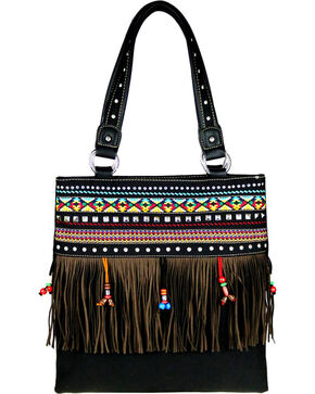 Montana West Women's Fringe Collection Concealed Handgun Handbag, Black, hi-res