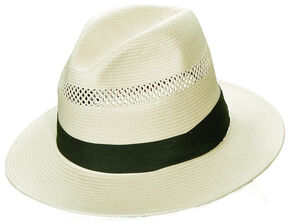 Scala Natural Toyo with Pleated Trim Fedora Hat, Natural, hi-res