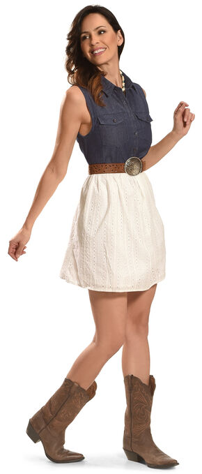 Angel Ranch Women's Ivory Summer Mix Dress , Indigo, hi-res