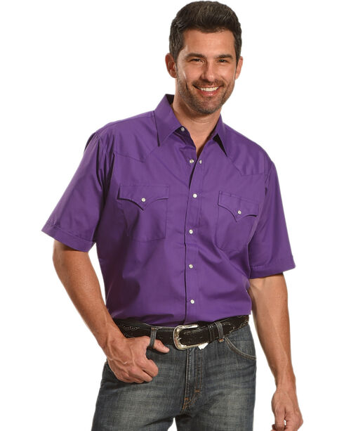 Ely Cattleman Men's Purple Short Sleeve Western Snap Shirt, Purple, hi-res