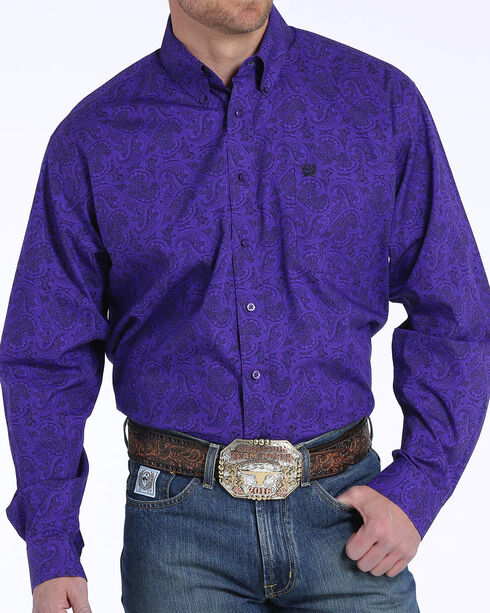 Cinch Men's Purple Paisley Print Long Sleeve Button Down Shirt, , hi-res