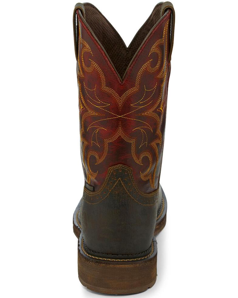 Justin Men's Oxblood Waterproof Western Work Boots - Steel Toe, Brown, hi-res