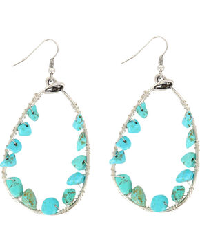 Shyanne Women's Turquoise Bead Teardrop Hoop Earrings, Turquoise, hi-res