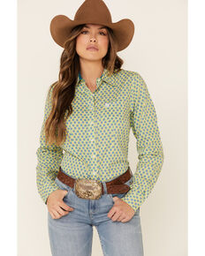 Cinch Women's Lime Geo Print Button Front Long Sleeve Western Shirt , Bright Green, hi-res
