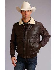 Stetson Men's Dark Brown Novelty Solid Leather Canvas Sleeve Jacket , Brown, hi-res