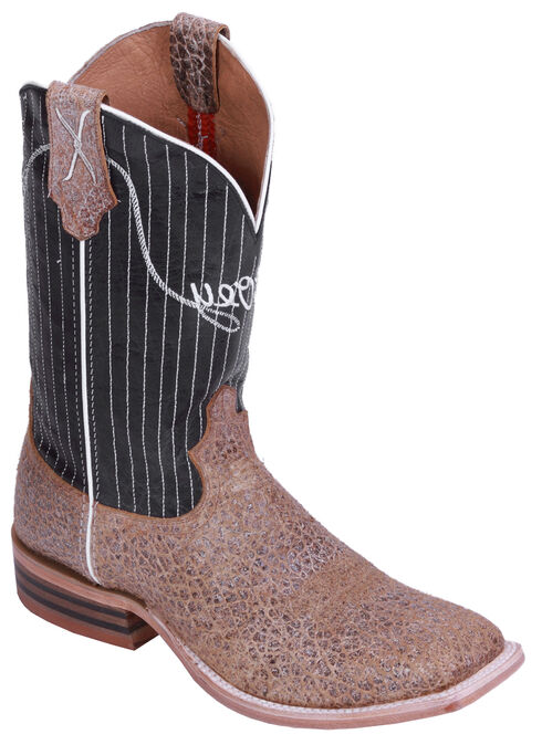 Hooey by Twisted X Black Pinstripe Cowboy Boots - Wide Square Toe, Camel, hi-res