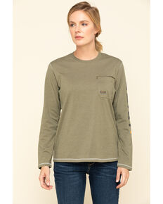 Ariat Women's Sage Heather Rebar Logo Long Sleeve Work Shirt, Sage, hi-res