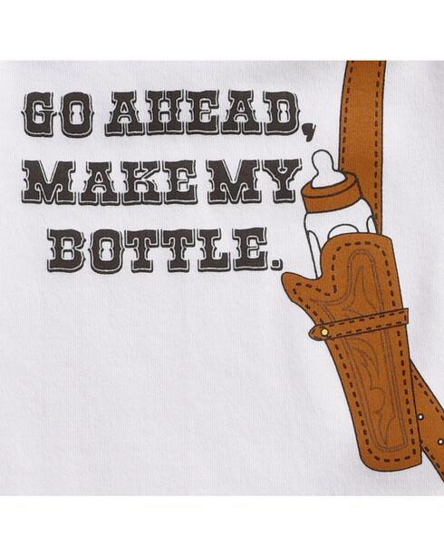 "Hers 'N Spurs Infant's ""Make My Bottle"" Onesie, White, hi-res"