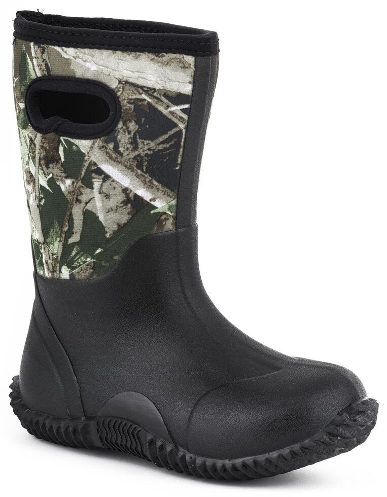 Roper Boys' Camo Neoprene Boots, Black, hi-res