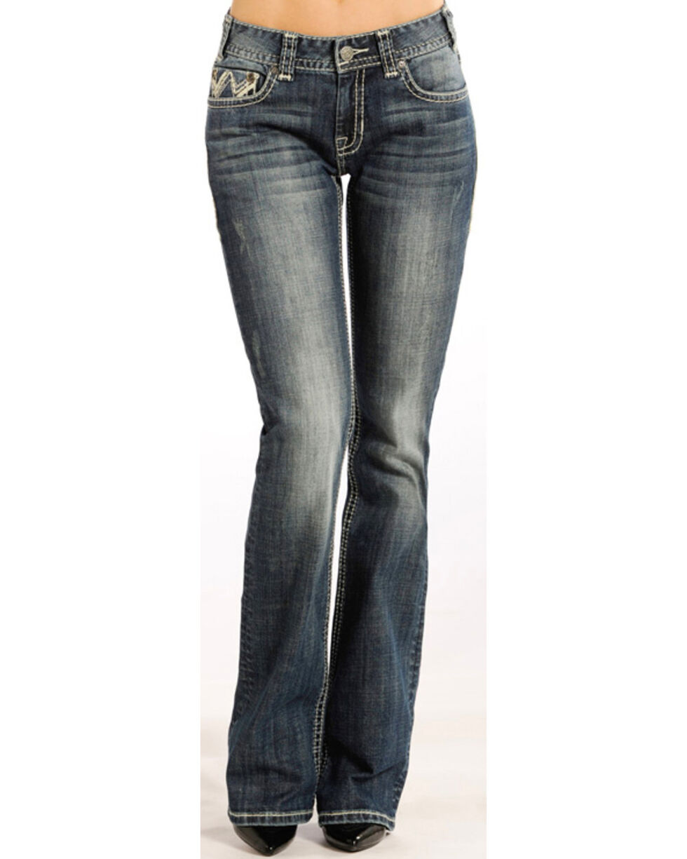 Rock & Roll Cowgirl Women's Embellished Zig Zag Jeans - Boot Cut , Indigo, hi-res
