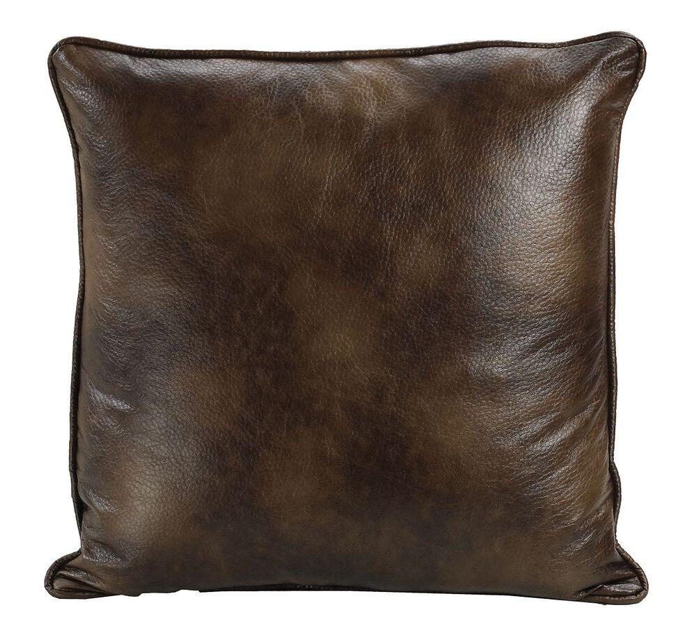HiEnd Accents Dark Faux Leather Euro Sham, Brown, hi-res