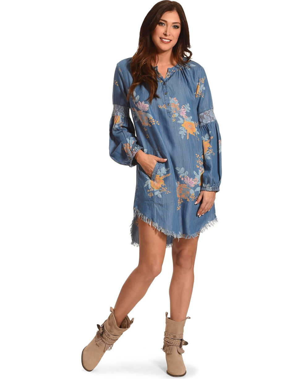 Billy T Women's Floral Print Dress, Blue, hi-res