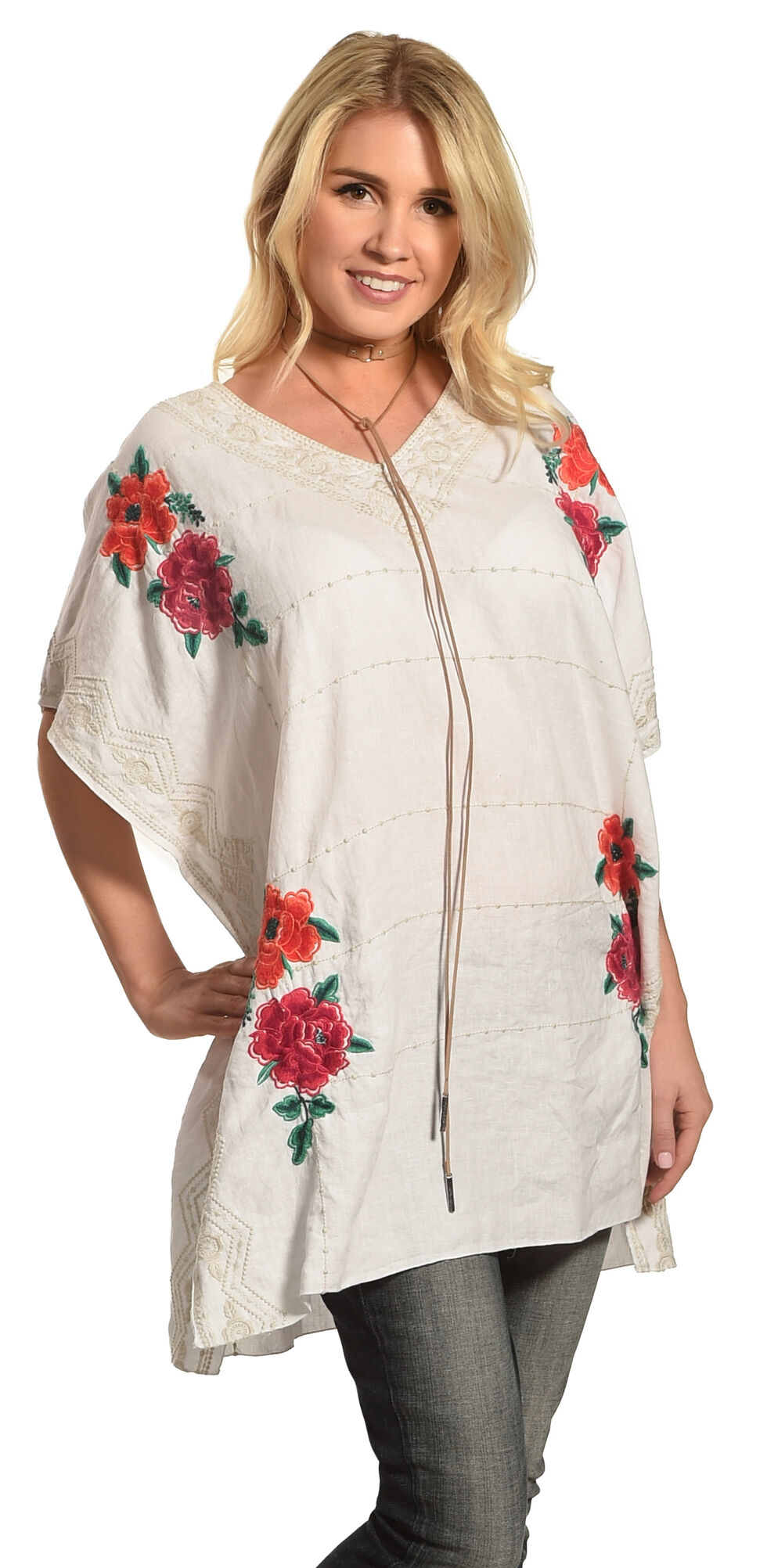 Johnny Was Women's Selena V-Neck Poncho , White, hi-res