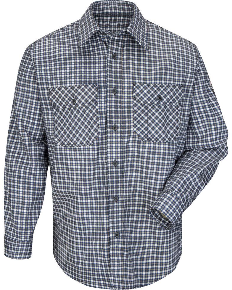 Bulwark Men's Navy Plaid Flame Resistant Uniform Shirt - Big & Tall , Navy, hi-res