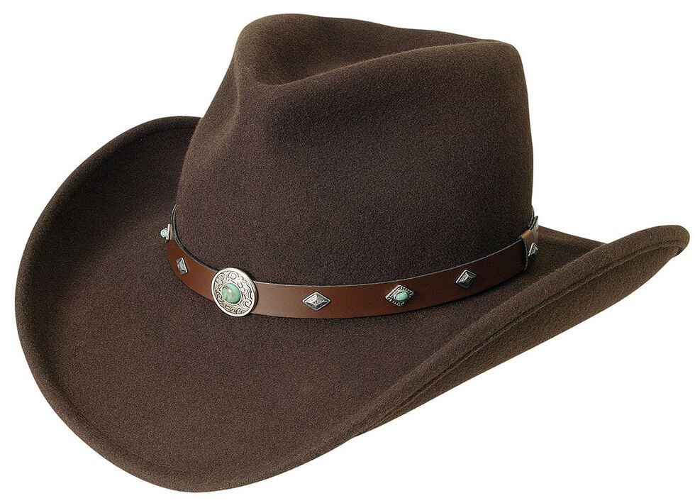 Silverado Fancy Pinch Front Crushable Wool Cowboy Hat, Chocolate, hi-res