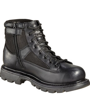 "Thorogood Men's 6"" GEN-flex2 Trooper Side Zip Work Boots, Black, hi-res"