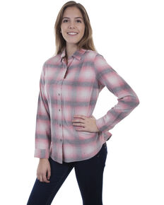 Honey Creek by Scully Women's Pink Cream Corduroy Plaid Long Sleeve Blouse, Pink, hi-res