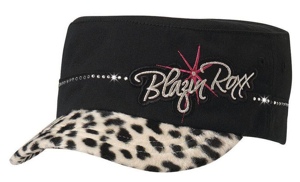 Blazin Roxx Girls' Leopard Print Military Cap, Black, hi-res