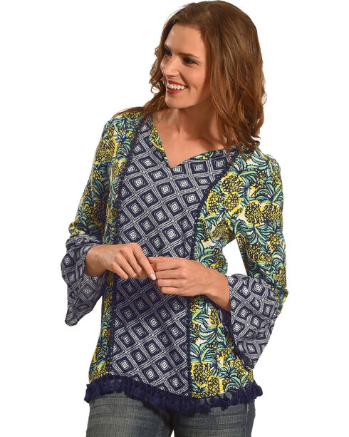 Ruby Rd. Women's Pineapple Punch Border Print with Tassels Top, , hi-res