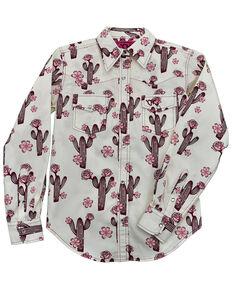 Cowgirl Hardware Girls' Burgundy Floral Cactus Print Long Sleeve Snap Western Shirt , Burgundy, hi-res
