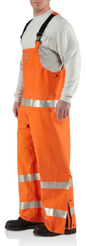 Carhartt Flame Resistant Rainwear Bib Overalls - Big & Tall, Orange, hi-res