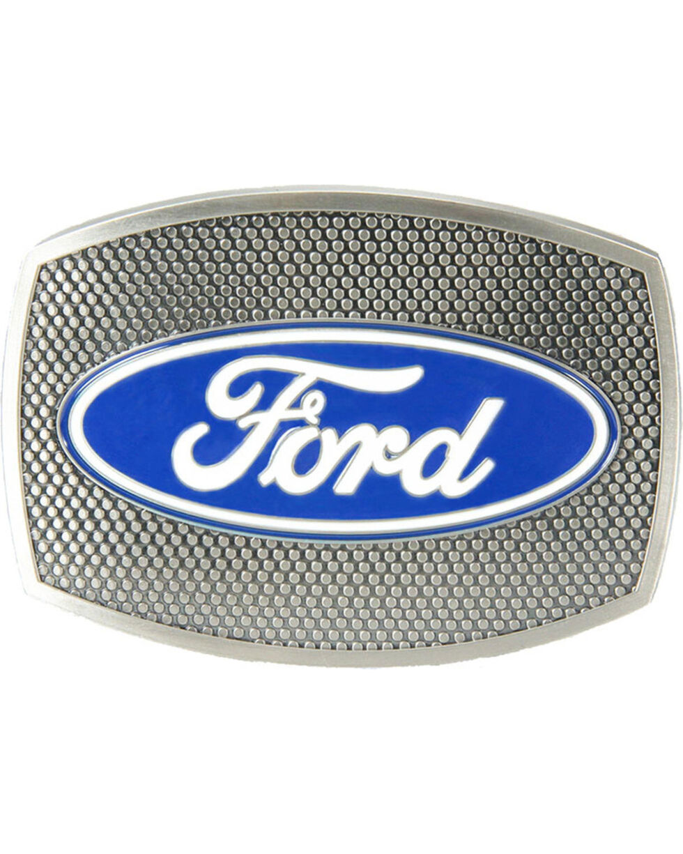 Western Express Men's Silver New-Ford Screen Buckle , Silver, hi-res