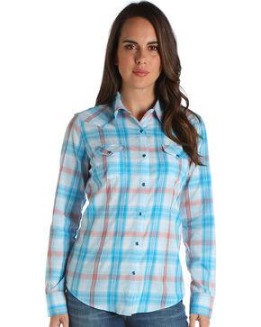 Wrangler Women's Turquoise Long Sleeve Plaid Shirt , Turquoise, hi-res