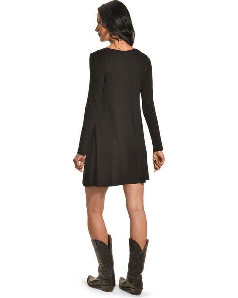 Derek Heart Women's Riva's Long Sleeve Swing Dress, Black, hi-res