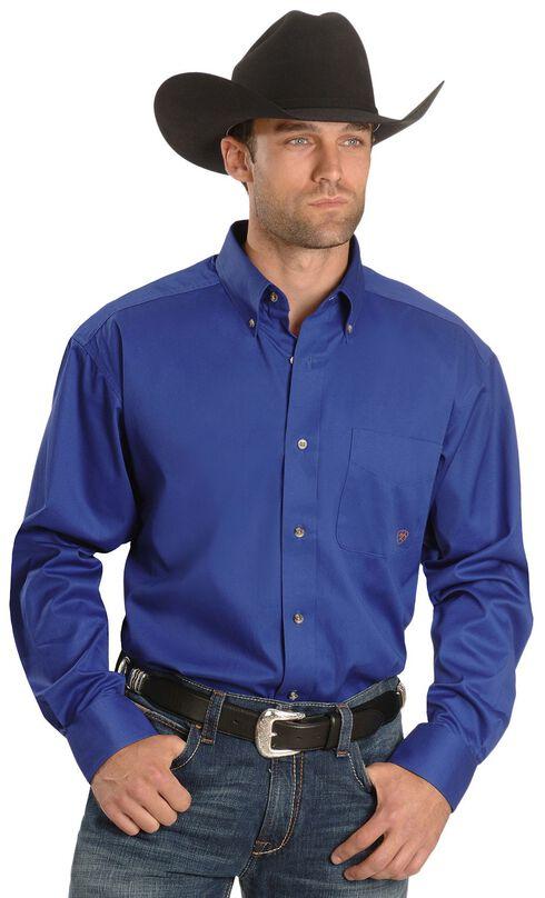 Ariat Men's Solid Twill Oxford Shirt, Blue, hi-res