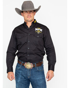 Wrangler Men's WNFR 60th Anniversary Long Sleeve Western Shirt, Black, hi-res