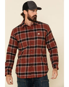 Carhartt Men's Iron Ore Plaid Rugged Flex Flannel Fleece Lined Long Sleeve Work Shirt, Steel, hi-res