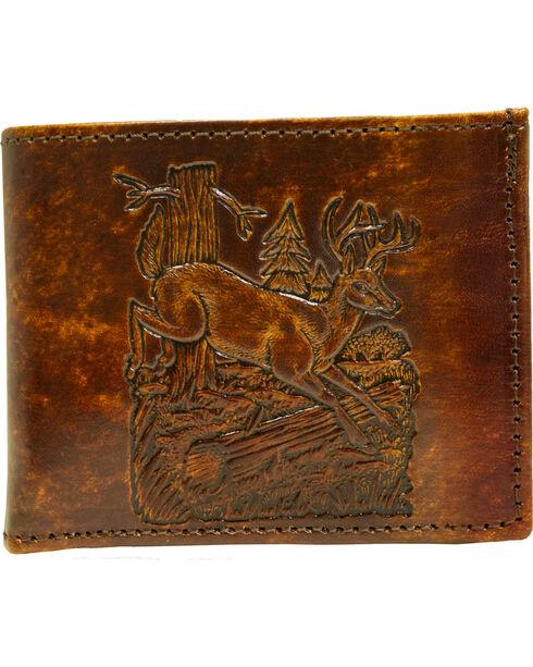 Western Express Men's Brown Leather Deer Billfold , Brown, hi-res