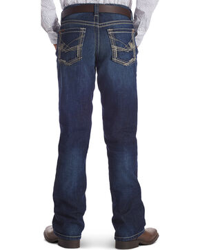 Ariat Boys' B4 Ridgeline Relaxed Fit Boot Cut Jeans, Dark Blue, hi-res