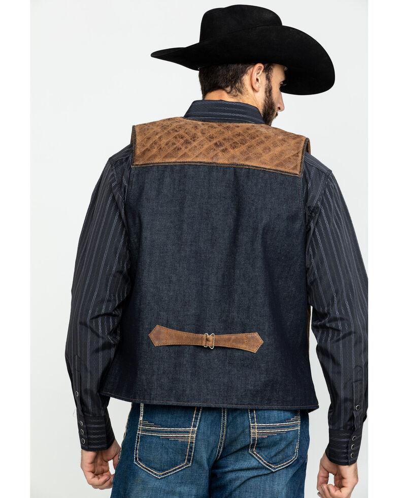 Scully Leatherwear Men's Leather Canvas Back Vest , Brown, hi-res
