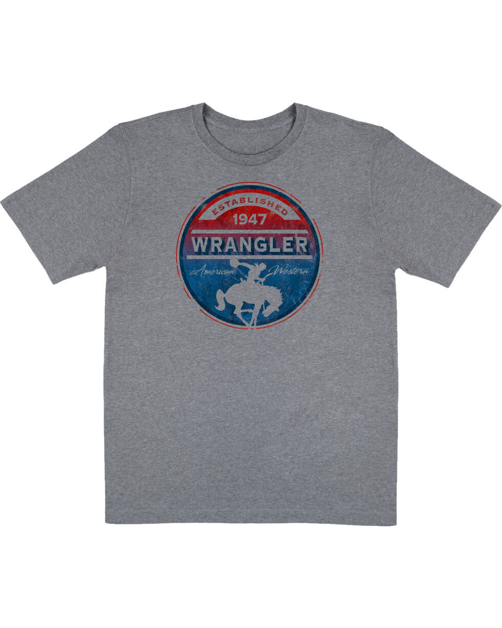 Wrangler Men's Grey Circle Graphic Established 1947 Tee , Grey, hi-res