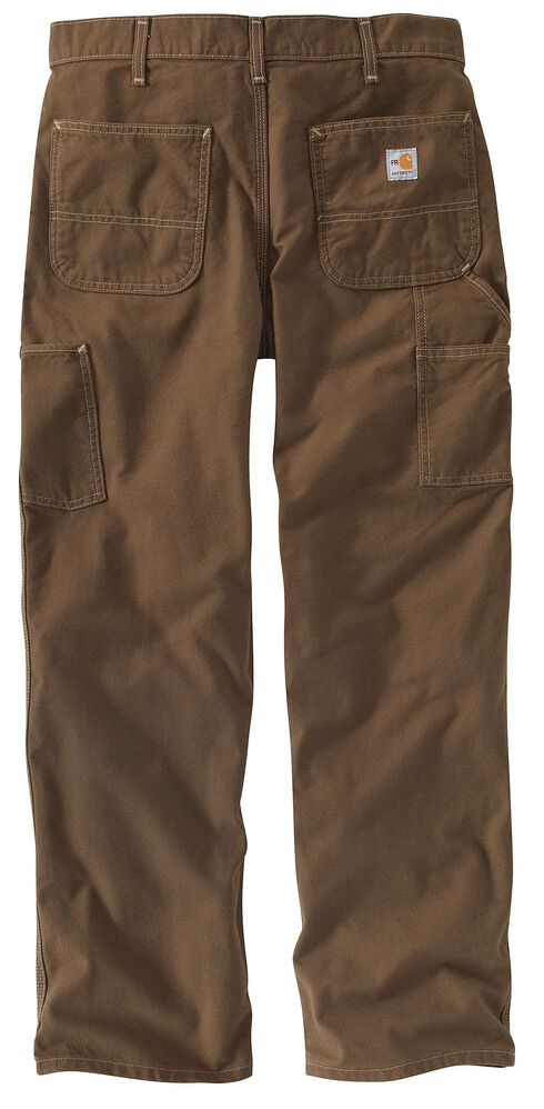 Carhartt Flame Resistant Washed Duck Work Pants - Big & Tall, Brown, hi-res