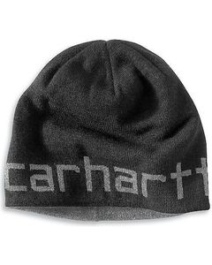Carhartt Logo Reversible Knit Hat, Black, hi-res