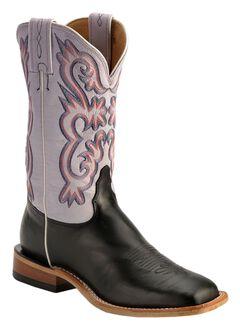 Tony Lama Americana Lavender Cowgirl Boots - Square Toe, Black, hi-res