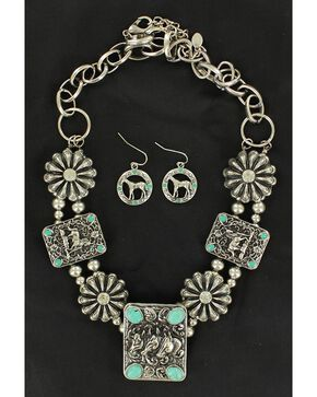 Blazin Roxx Rectangle Concho & Faux Turquoise Necklace & Earrings Set, Silver, hi-res