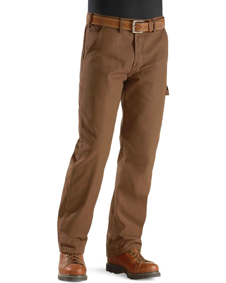 Dickies Twill Duck Flannel Lined Carpenter Work Pants, Brown, hi-res