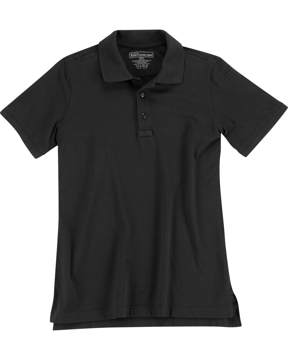 5.11 Tactical Women's Jersey Short Sleeve Polo, Black, hi-res