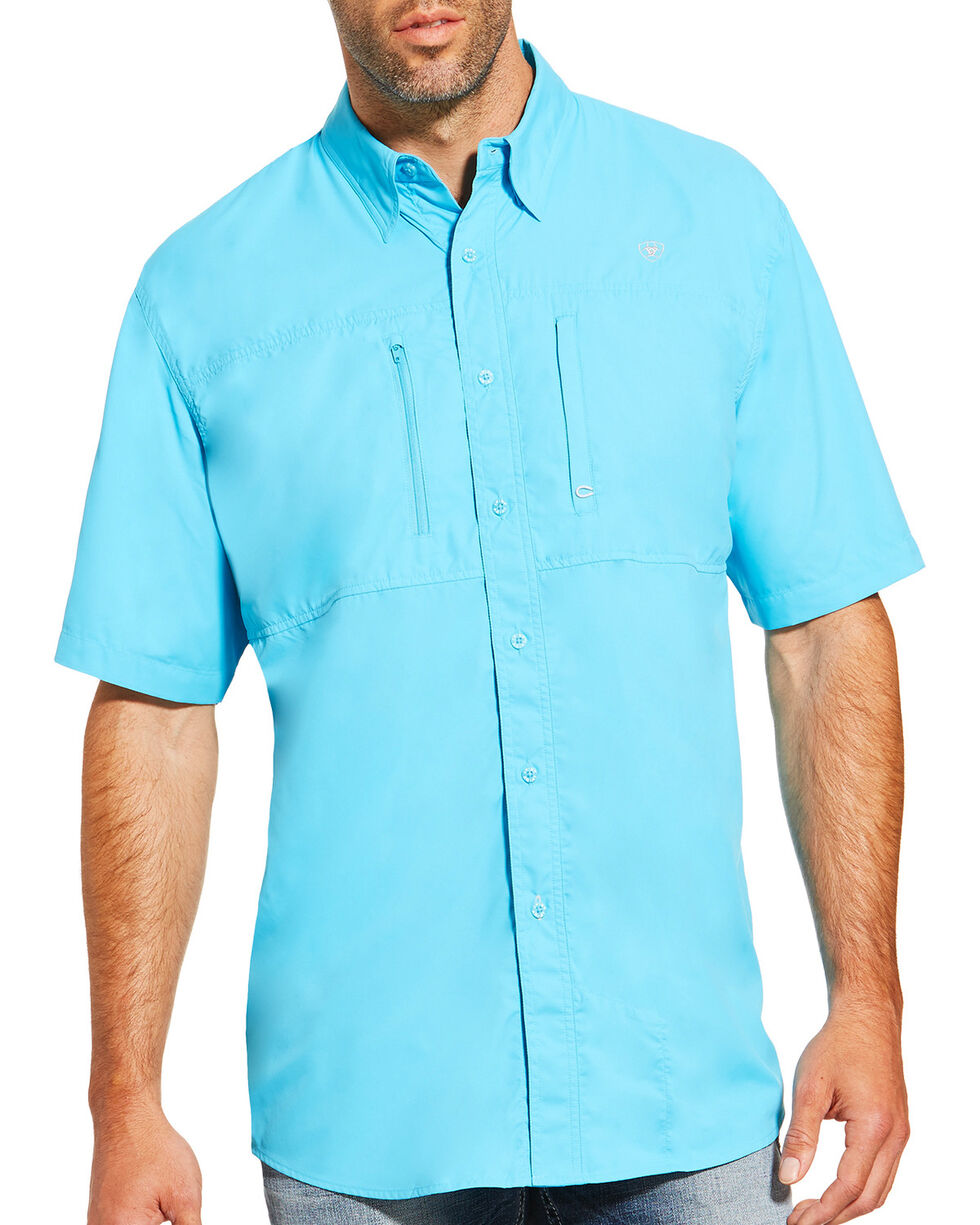 Ariat Men's Blue Venttek Short Sleeve Shirt , Blue, hi-res
